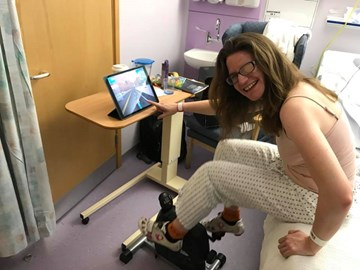 Rachael using cycling to aid her recovery after her stroke