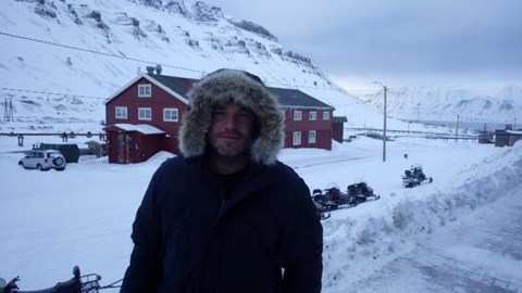 Here's a photo of Steve during his training in Svalbard, Norway just before setting on the challenge.