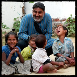 Guria director, Ajeet Singh, with kids at the Guria Non Formal Education Centre