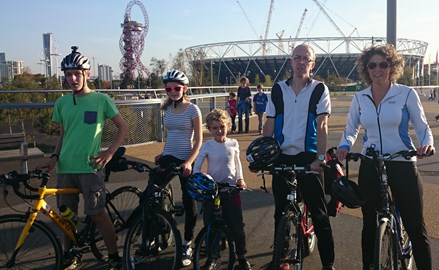 Our family cycling at the Olympic Park