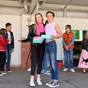 Upper lunch 50s costume contest winners.