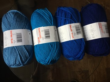 I have a great selection of yarn in various shades of blue