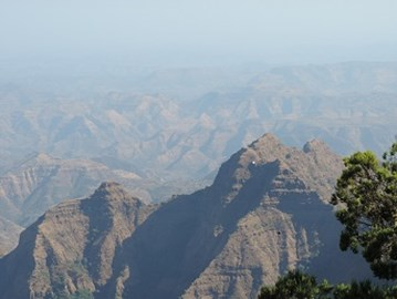 Our first view of the Simien mountains