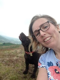 Head of Finanace Debbie Yapp up top of Caer Caradoc with Ro