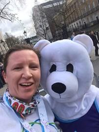Rachel getting her polar bear hug