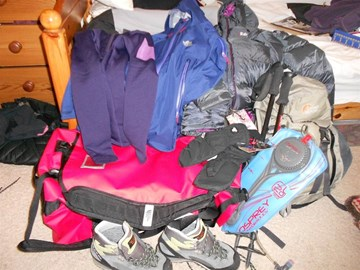 All my kit; boots, bags, coats, mittens!