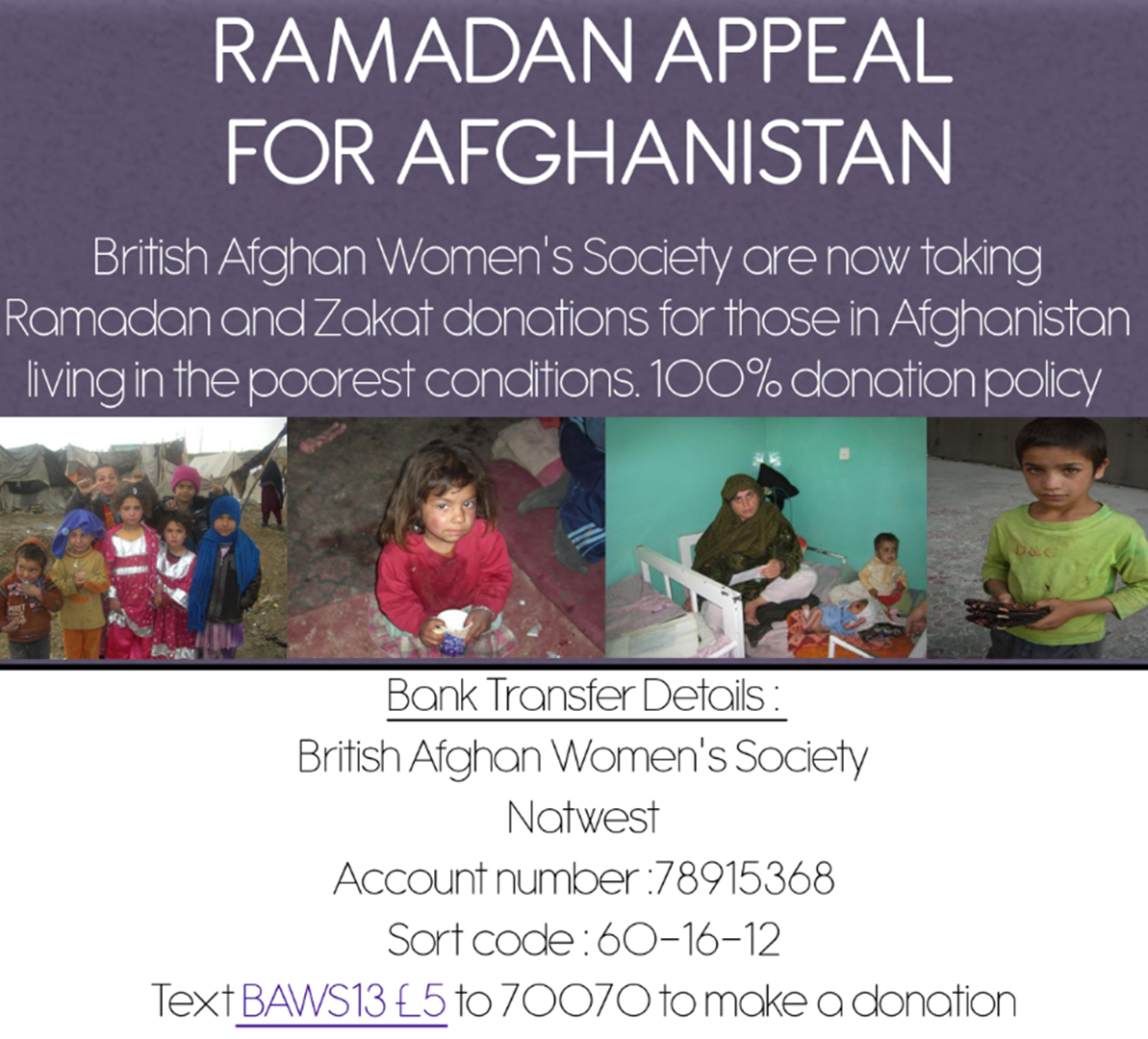 British Afghan Women's Society is fundraising for British Afghan