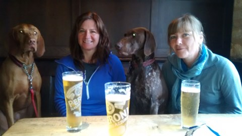 Kate and I and the hounds after our first 17 mile stretch of the Cotswold way last May