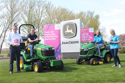 At John Deere Nottingham with Chris Meacock and Sue Swire from the Alzheimer's Society
