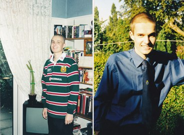 Me when I was undergoing chemo at 16 watching Leicester Tigers and on my first day at Sixth Form