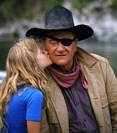 Marisa with her Dad on Rooster Cogburn