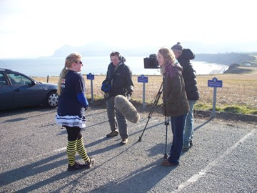 being interviewed for S4C