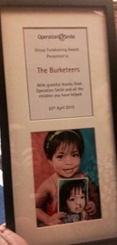Burketeer group fund raising award from Operation Smile UK :)