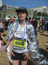 Tired after running 26.2 miles at Brighton in 2013