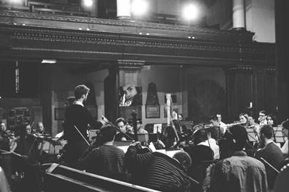 Conductor Nicolas Nebout, Mezzo-Soprano Sarah Connolly during the unique rehearsal of the concert