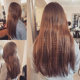 "Isabel's Hair, 16"" being cut off for Little Princess Trust by Shannon at Vittorio's."
