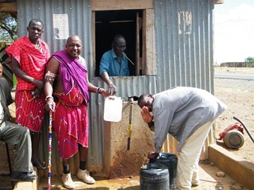 Members of the Maasai at their borehole