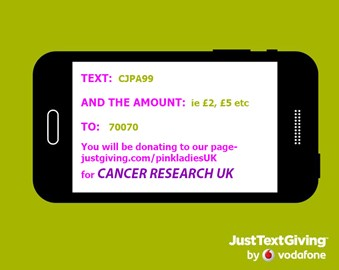 Donate by texting to 70070 and in the message put our special code CJPA99 and the amount you'd like to donate ie £5