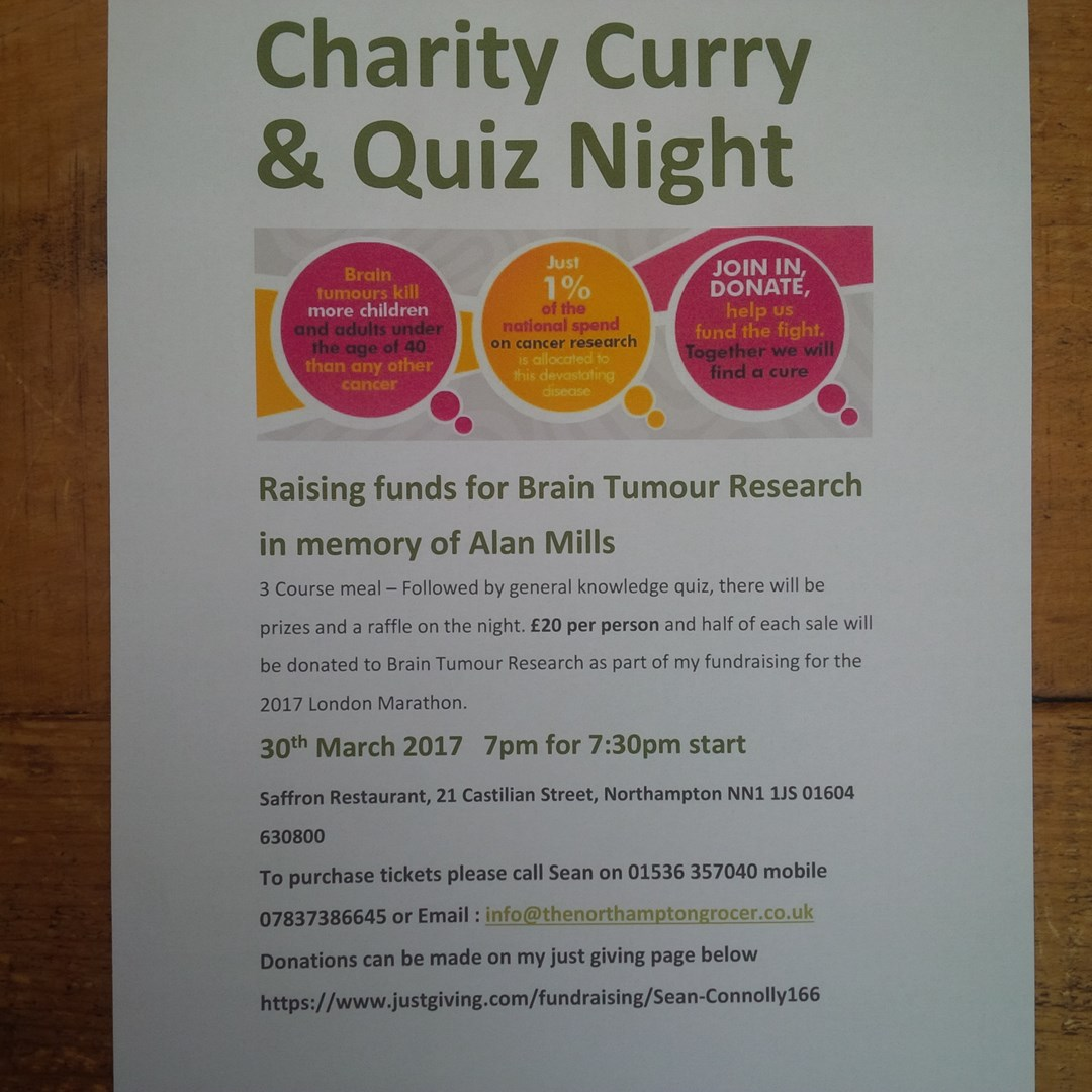 sean connolly is fundraising for Brain Tumour Research