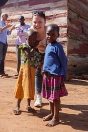 Olympia in at a school in Uganda