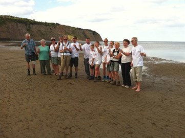 Celebrating our finish: Robin Hoods Bay