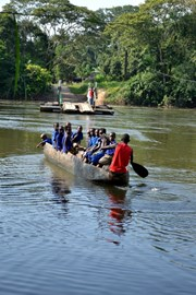 New direction ...  Children going to school by canoe