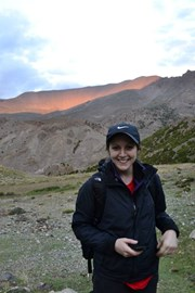Louise at sunset after first day's trek - a smidgen easier than the days that followed.