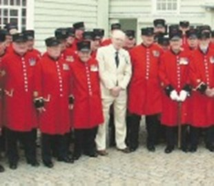 Wendell with Chelsea Pensioners at Mary Rose