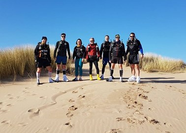 Training with tent-mates at Formby Feb '18