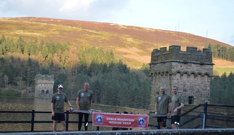 4 of the team members posing by Howden dam