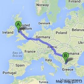 Our route - North Wales via Hertfordshire to Macedonia