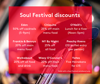 100% of ticket sales for The Manchester Soul Festival goes directly to The Christie. In return, you'll get some fantastic discounts, as well as a day filled with live music from the best Soul acts from around the UK!