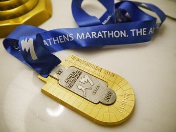 The beautiful medal for marathon finishers