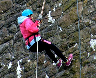 Me Abseiling! In the hail!