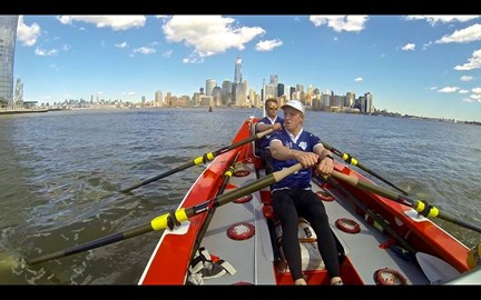 Tom and Lawrence training in the waters of the Hudson river.