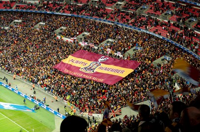 Bradford City flag at Wembley 2013