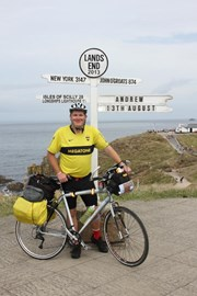 Me & my bike at the famous sign at Land's End, The starting point of my trip!