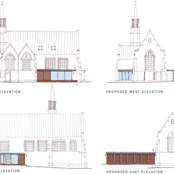 Sketches of the proposed designs for the new community facility on the side of the church