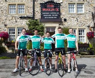 Team Emmerdale outside The Woolpack