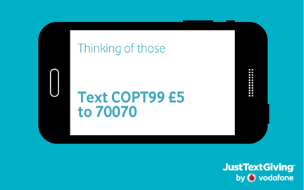 SMS  COPT99 £5 to 70070 to donate
