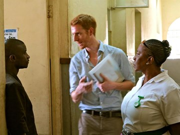 Dr Oliver Johnson (centre) with colleagues Dr Martin Salia and Sister Cecila (Sister in charge of A and E)