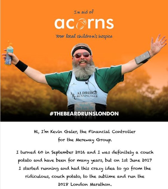 Kevin Galer is fundraising for Acorns Children's Hospice Trust