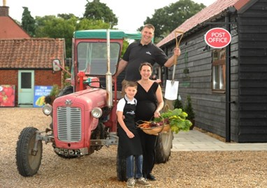 Michelle, James and Harry with the Massey!