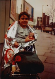 Dad having finished the 1st London Wheelchair Marathon in 1983