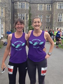 The Dream Team - jan and cath doing the South Downs Marathon in preparation for their Chiltern Ultra