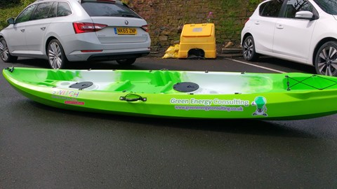 one of our kayak sponsored by Green Energy Consulting based in Gateshead