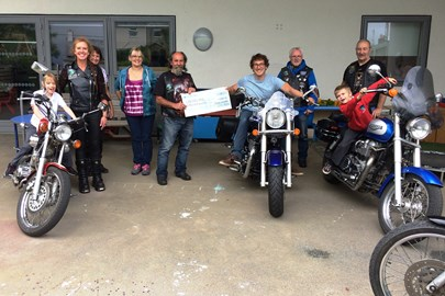Moorlanders MCC Egg Run donation to Camelford ARB Unit in 2017