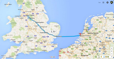 Vague route from Manchester, after which, it's unplanned.