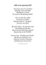 Dad's poem, last day in office