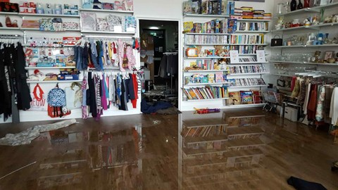 The shop found flooded with water